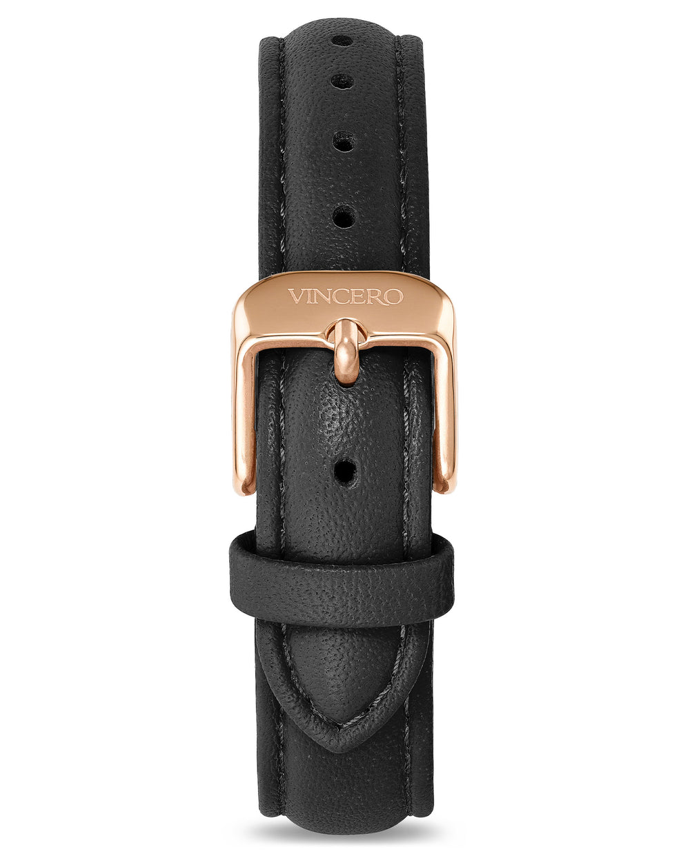 Women's Luxury Black Italian Leather Watch Band Strap Rose Gold Clasp