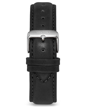 Classic - Black 20mm Men's Luxury Tan Italian Leather Interchangeable Watch Band Strap Silver Clasp