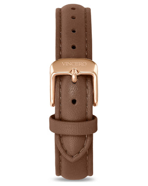 Women's Luxury Coffee Italian Leather Watch Band Strap Rose Gold Clasp