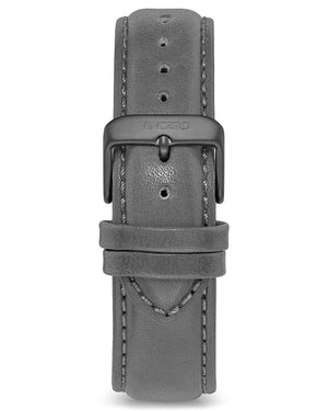 Classic - Gray 20mm Men's Luxury Gray Italian Leather Interchangeable Watch Band Strap Silver Clasp