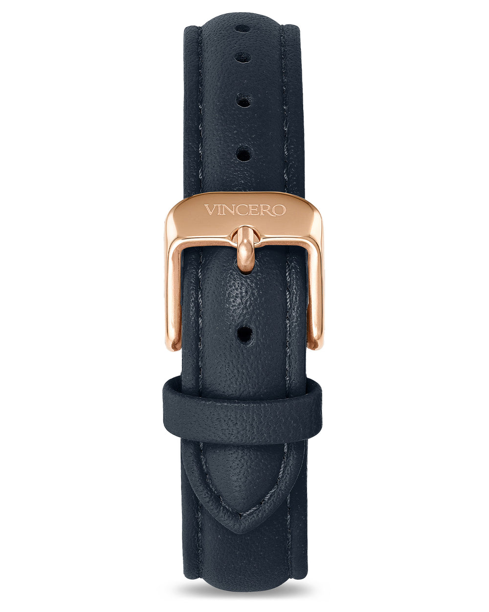 Women's Luxury Navy Italian Leather Watch Band Strap Rose Gold Clasp