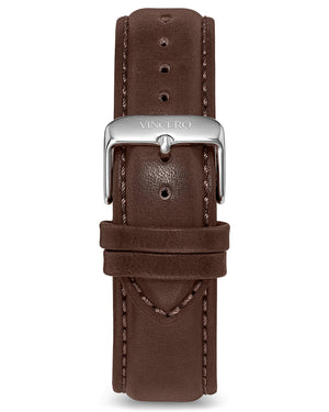 Classic - Walnut 20mm Men's Luxury Walnut Italian Leather Interchangeable Watch Band Strap Silver Clasp