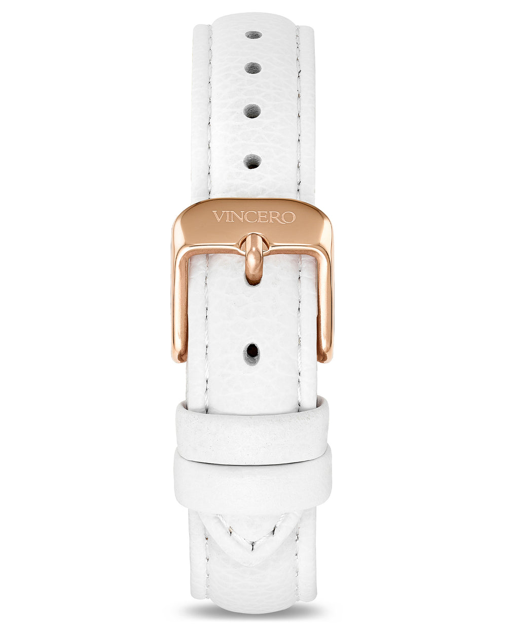 Women's Luxury White Italian Leather Watch Band Strap Rose Gold Clasp