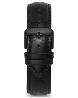Croc - Black 20mm Men's Luxury Black Italian Leather Interchangeable Watch Band Strap Silver Clasp
