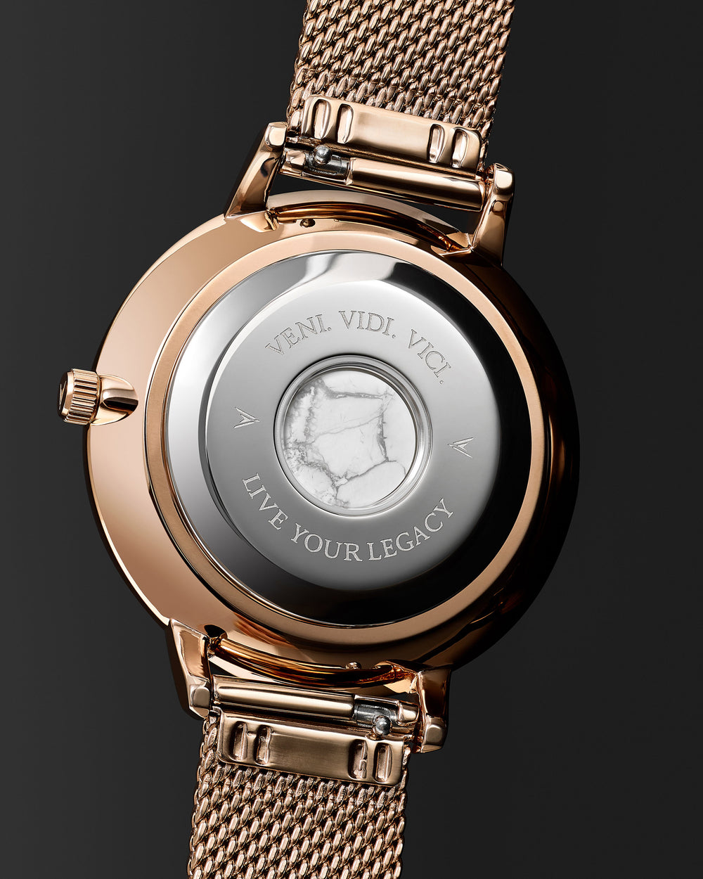 Italian Marble and 316L Stainless Steel Caseback with Veni Vidi Vici Live Your Legacy Engraving