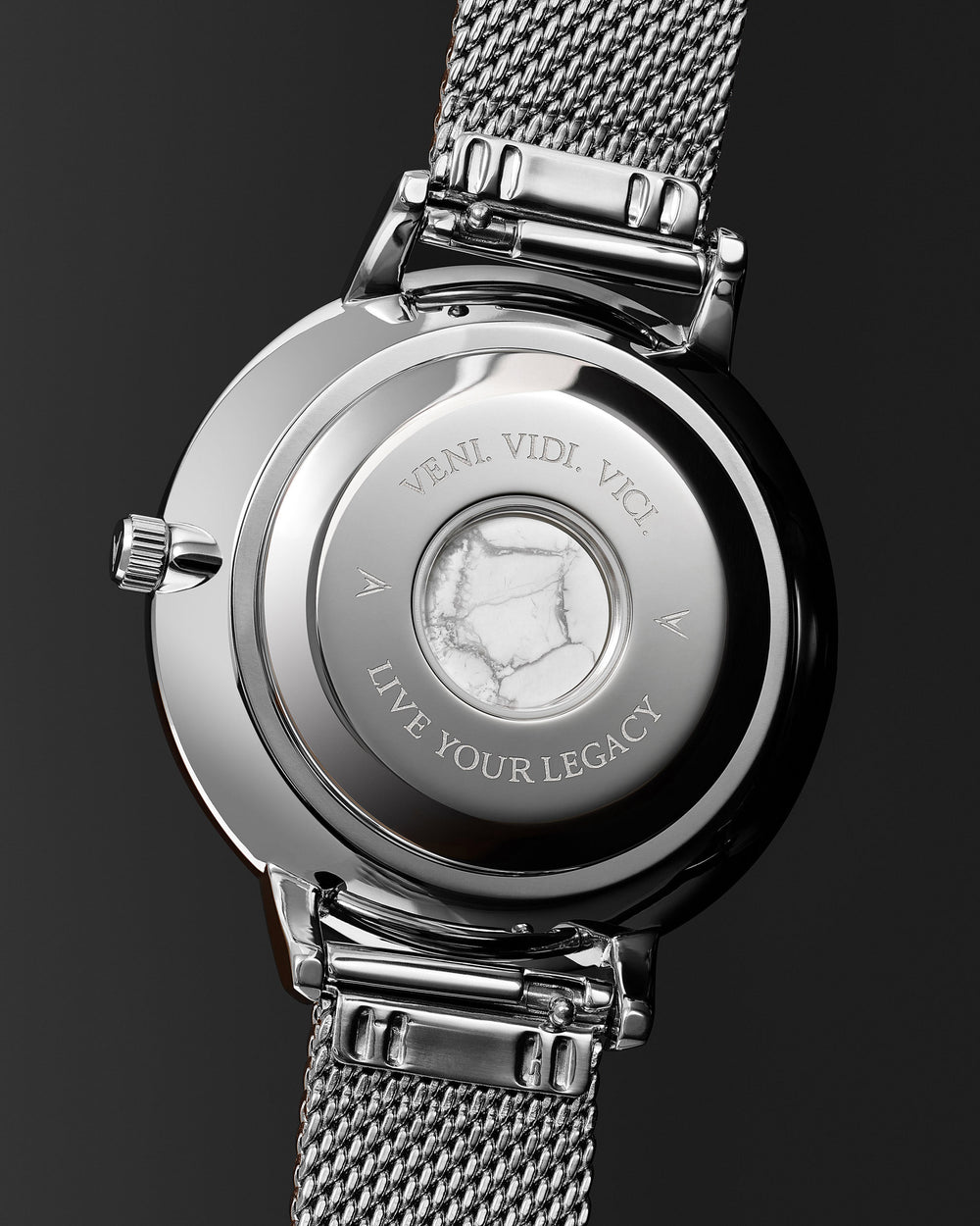Eros 20mm Italian Marble and 316L Stainless Steel Caseback with Veni Vidi Vici Live Your Legacy Engraving