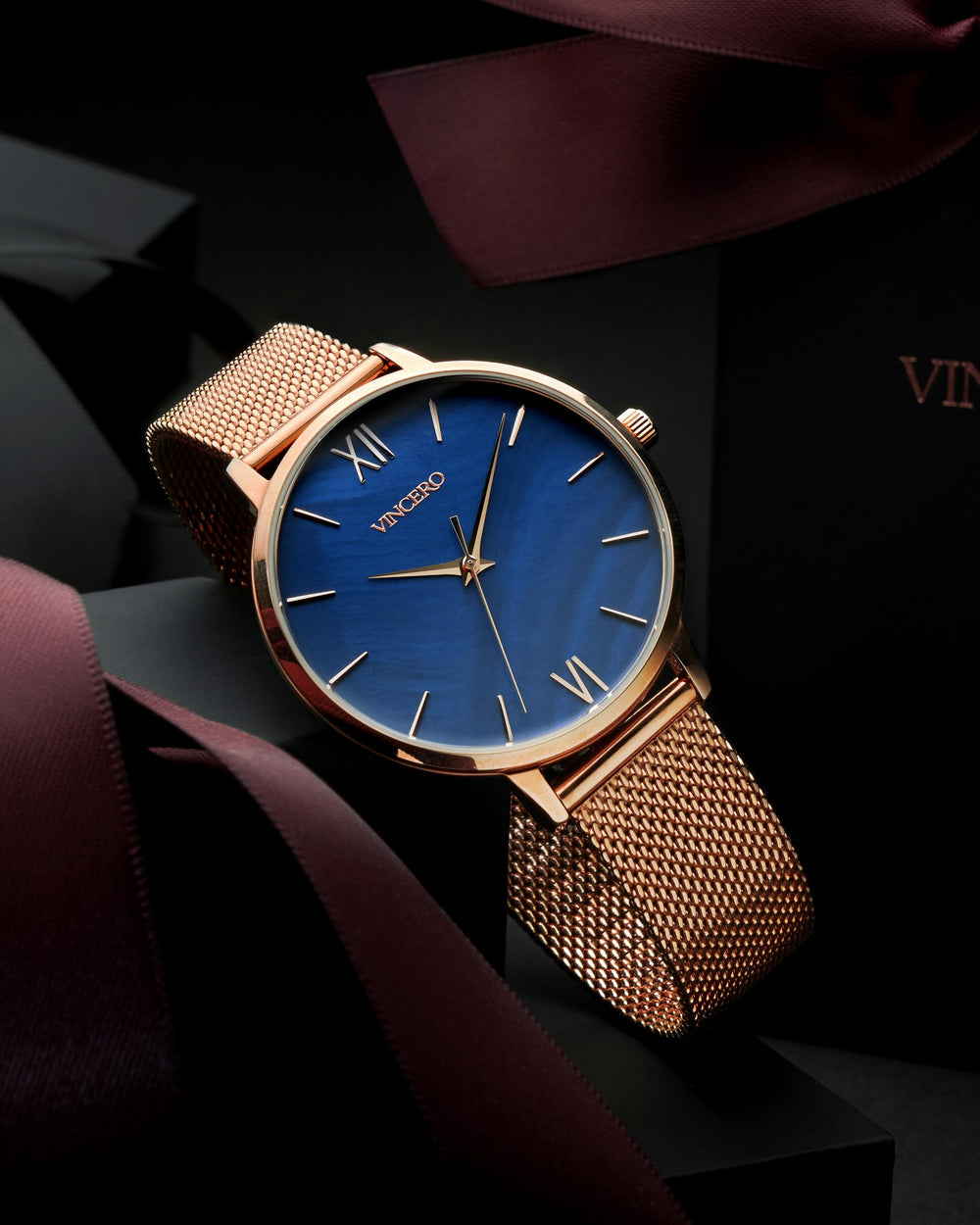 Eros Rose Gold 316L Stainless Steel Mesh Strap Blue Watch Face Rose Gold Case Clasp Rose Gold Accents