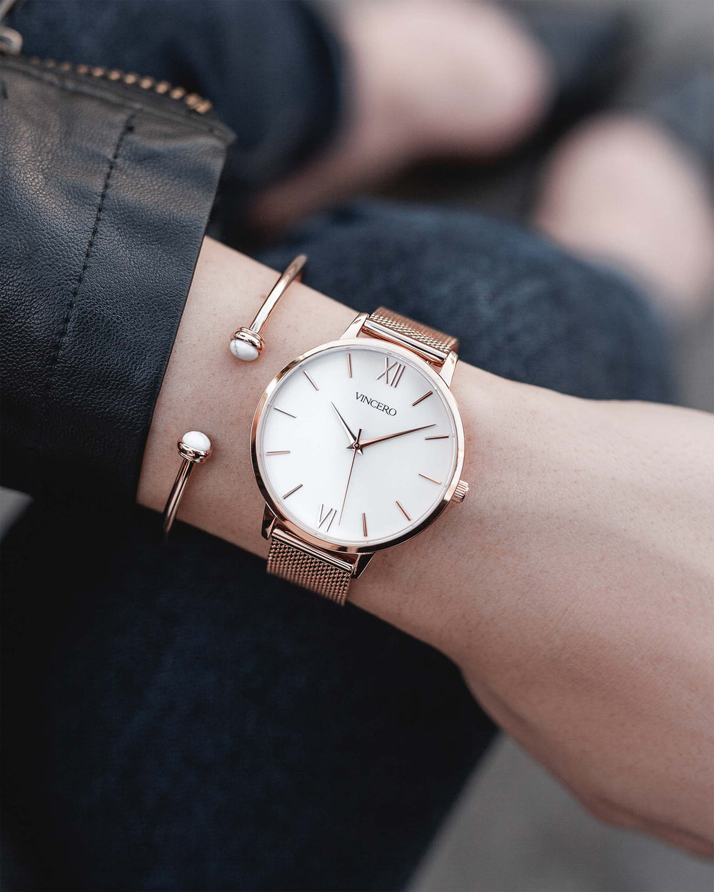 Women's Luxury Rose Gold 316L Stainless Steel Mesh Strap