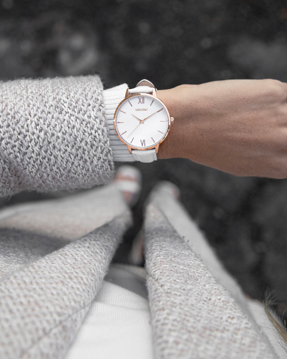 Eros White Italian Leather Strap Marble White Watch Face Rose Gold Case Clasp Rose Gold Accents