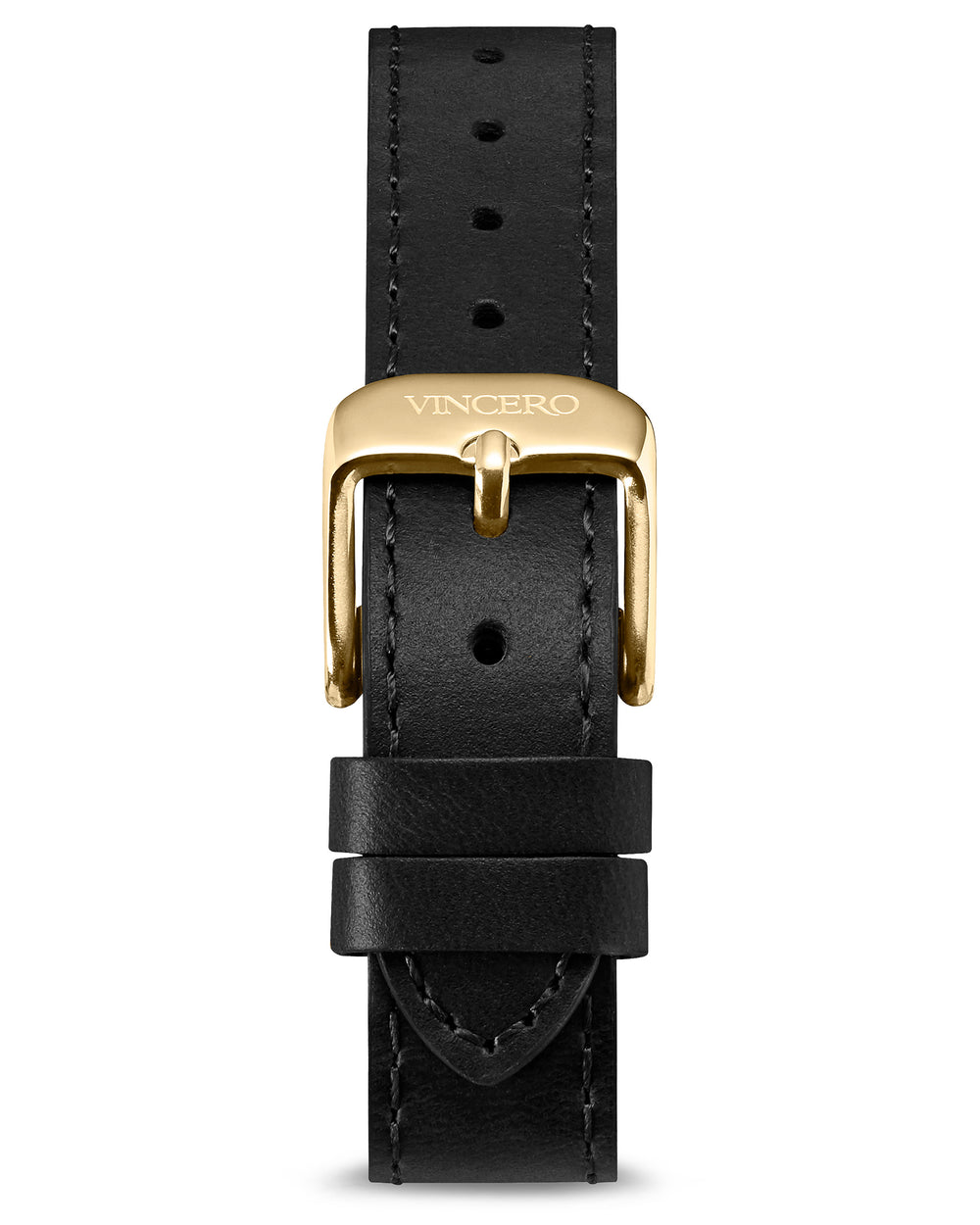 Women's Luxury Black Italian Leather Watch Band Strap Gold Clasp