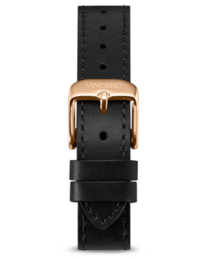 Flat Leather Strap - Black 16mm