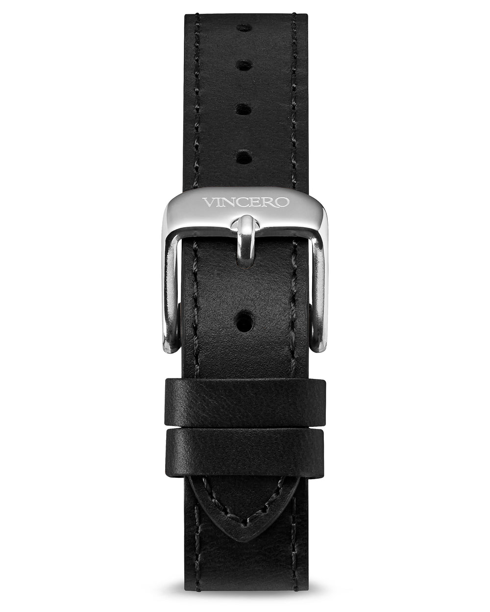 Women's Luxury Black Italian Leather Watch Band Strap Silver Clasp