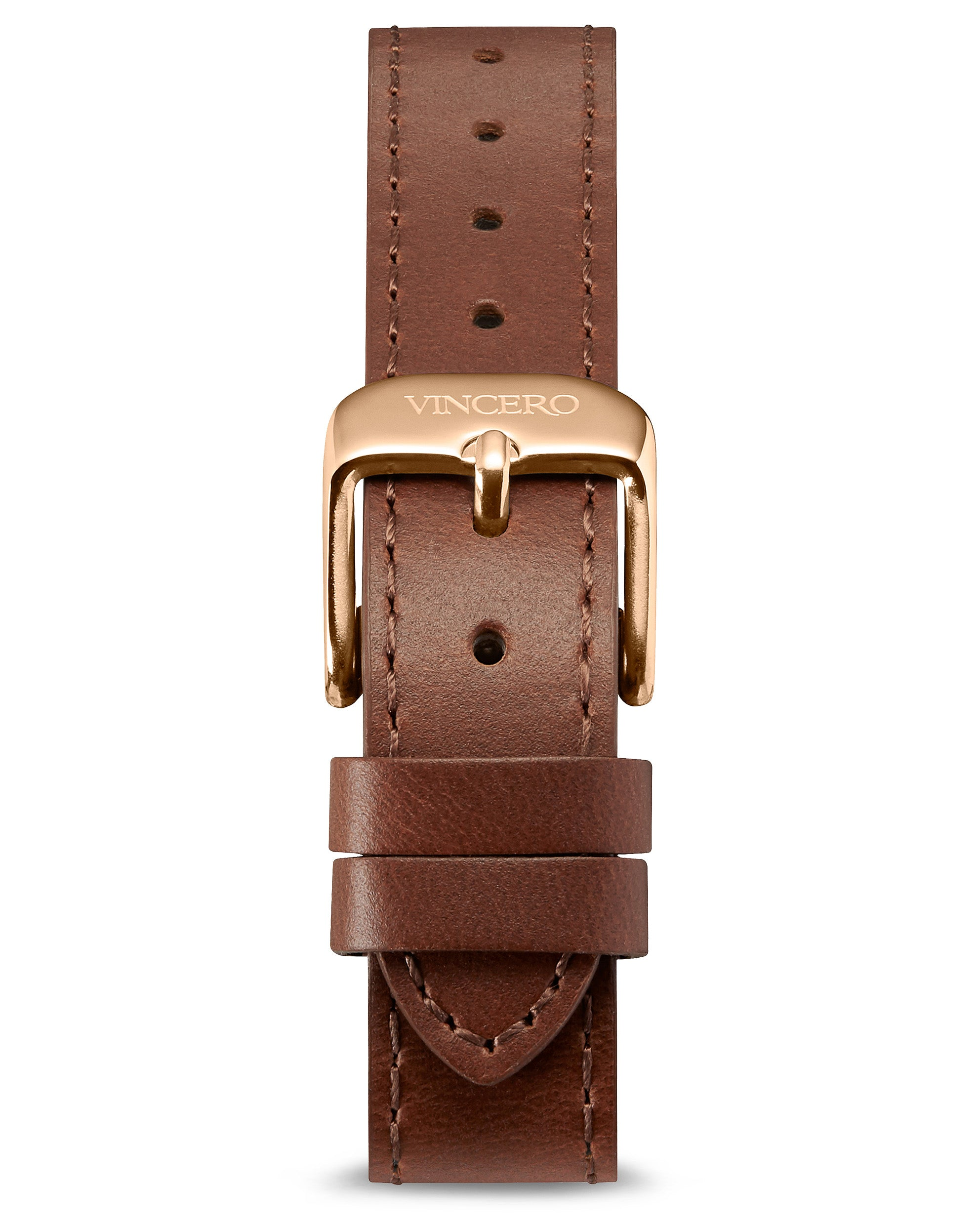 Women's Luxury Chestnut Italian Leather Watch Band Strap Rose Gold Clasp