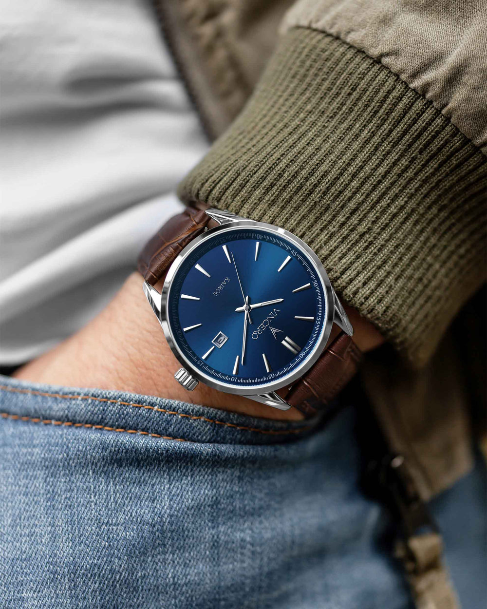 Luxury Kairos Watch Mocha Brown Croc Italian Leather Strap Band Blue Watch Face Silver Case Clasp