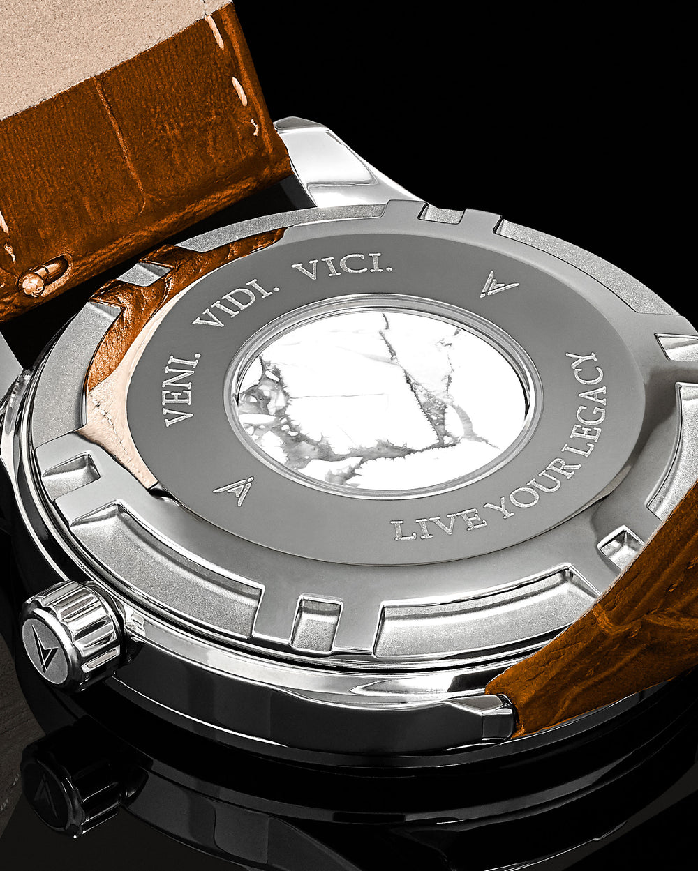 Kairos Italian Marble and 316L Stainless Steel Caseback with Veni Vidi Vici Live Your Legacy Engraving