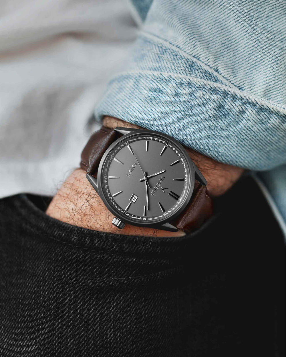 Kairos Walnut Italian Leather Strap Gunmetal Watch Face Gunmetal Case Clasp Gunmetal Accents