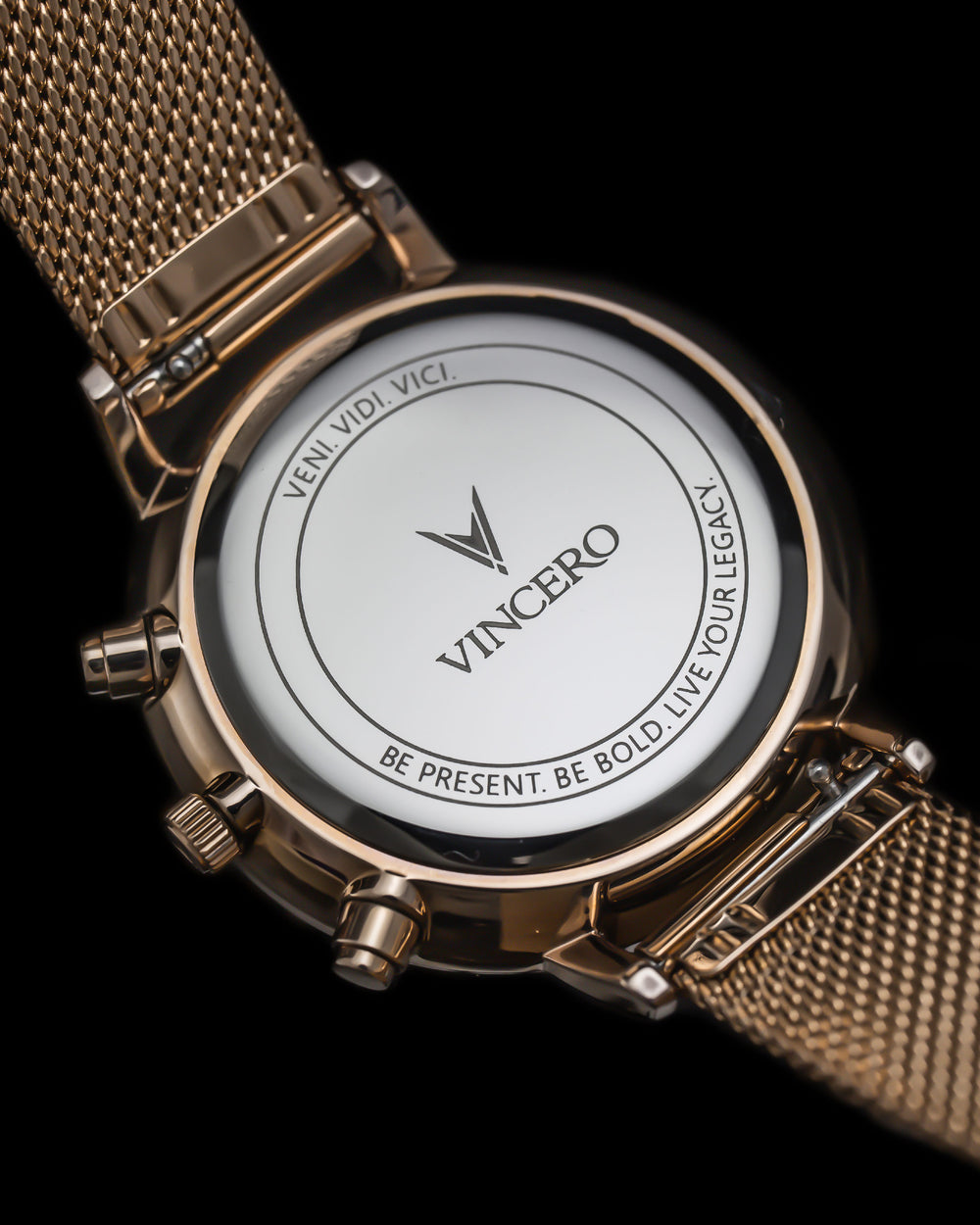 Kleio 316L Stainless Steel Caseback with Veni Vidi Vici Live Your Legacy Engraving