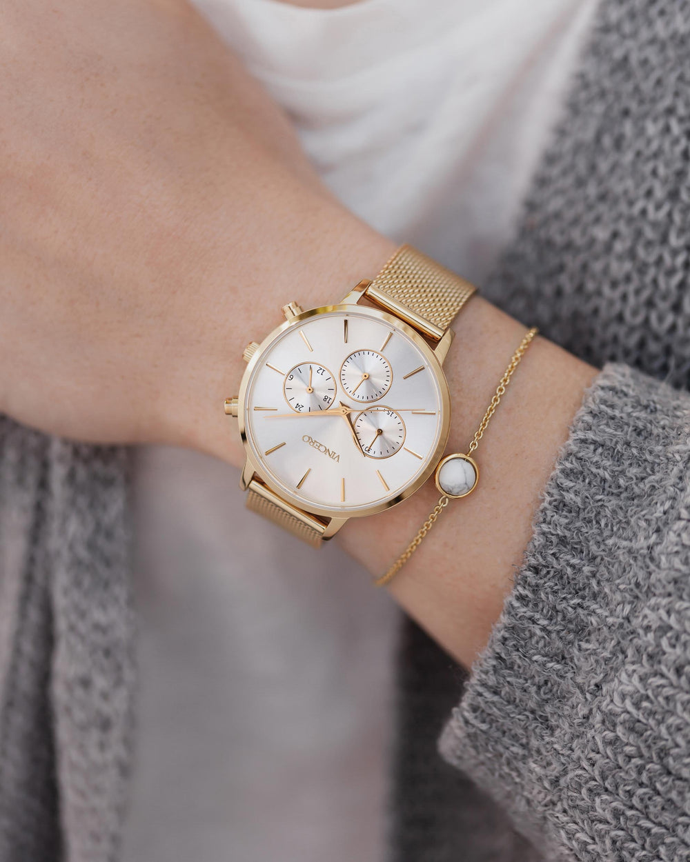 Women's Luxury Kleio Chronograph Watch Gold Stainless Steel Mesh Strap Band Silver Watch Face Gold Case Clasp