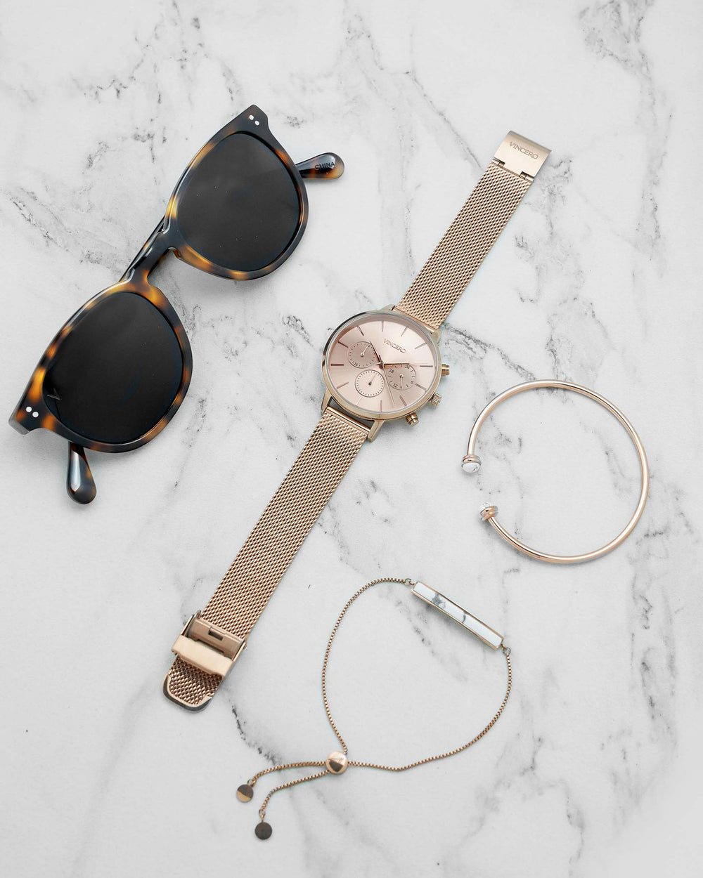 Kleio Rose Gold 316L Stainless Steel Mesh Strap Rose Gold Watch Face Rose Gold Case Clasp Rose Gold Accents