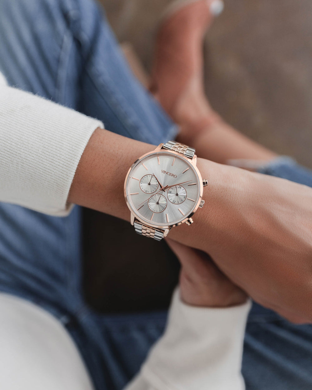 Women's Luxury Kleio Chronograph Watch Rose Gold Stainless Steel Strap Band Satin White Watch Face Rose Gold Case Clasp