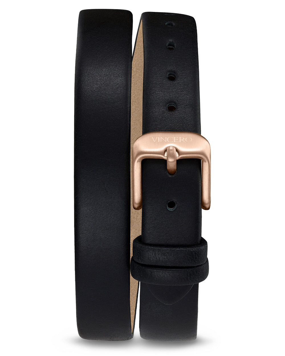 Women's Luxury Jet Black Italian Natural Leather Double Watch Band Strap Rose Gold Clasp