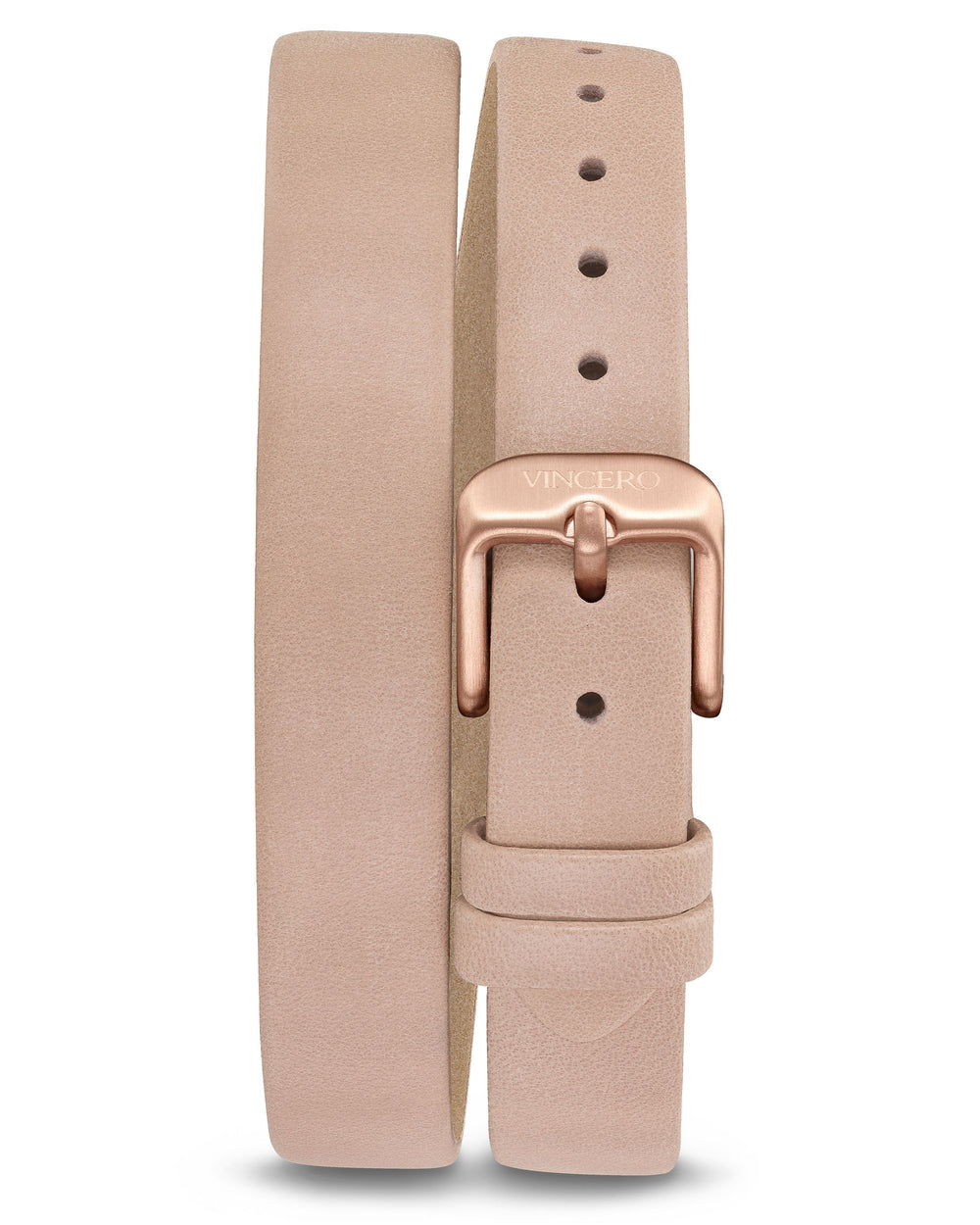 Women's Luxury Pale Pink Italian Natural Leather Double Watch Band Strap Rose Gold Clasp
