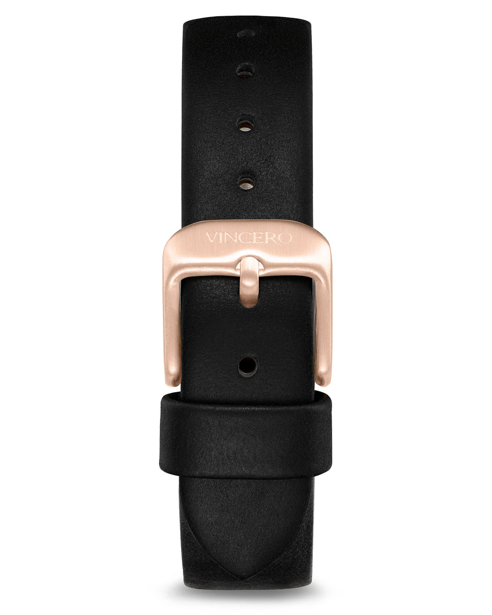 Women's Luxury Jet Black Italian Natural Leather Watch Band Strap Rose Gold Clasp