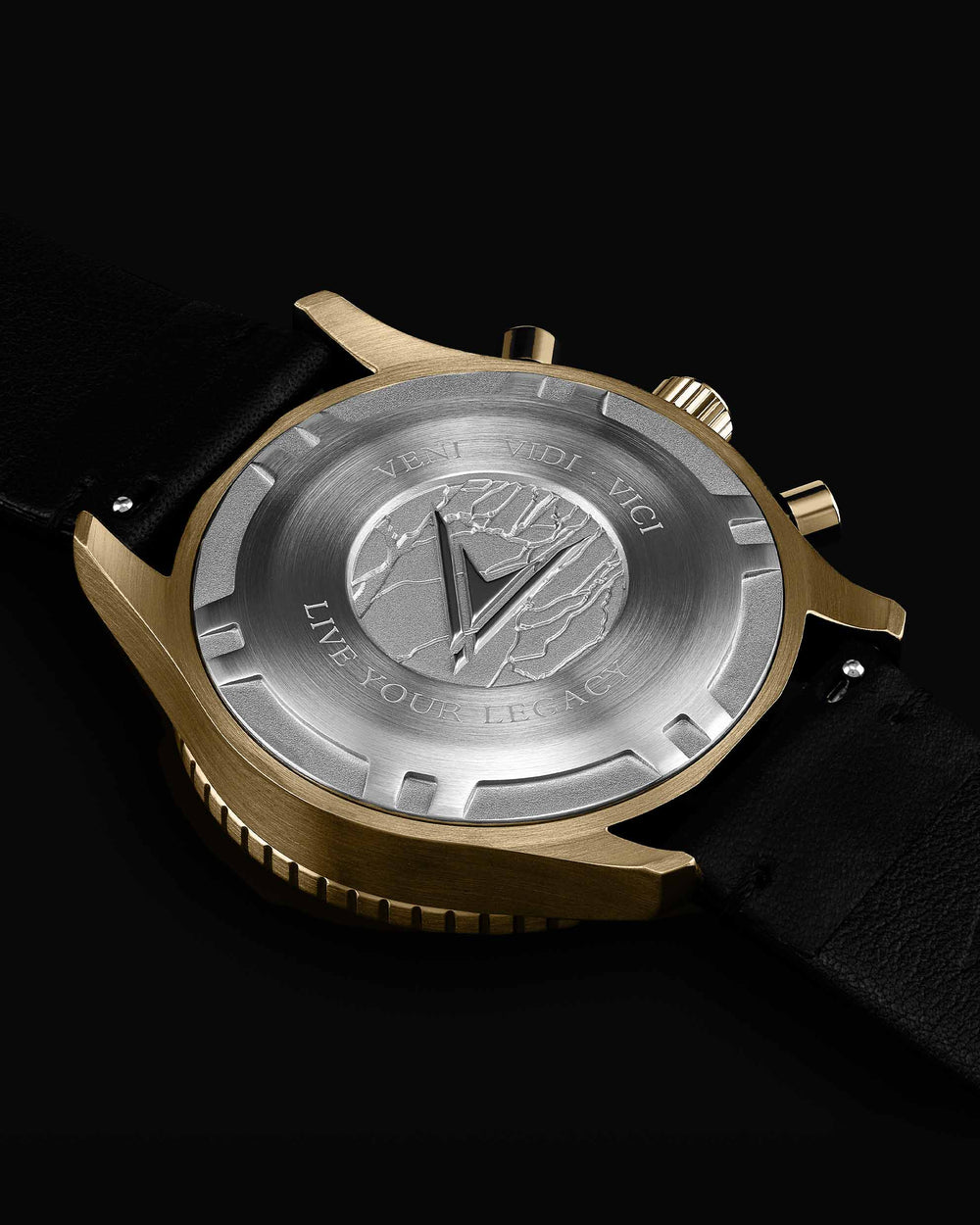 Outrider Italian Marble and 316L Stainless Steel Caseback with Veni Vidi Vici Live Your Legacy Engraving