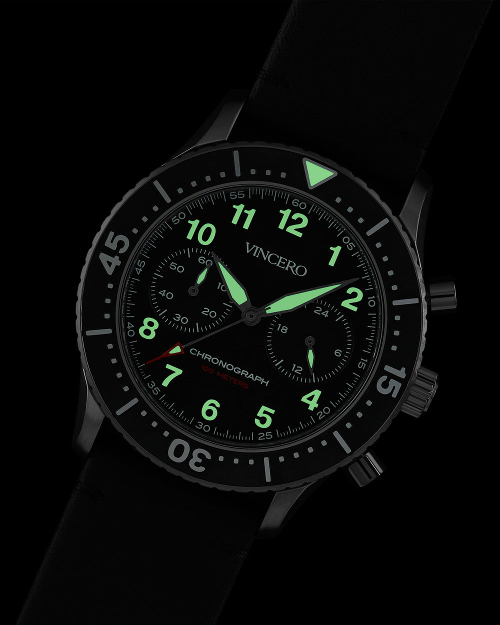 Vincero Outrider Black with Swiss Luminous Hands & Indices