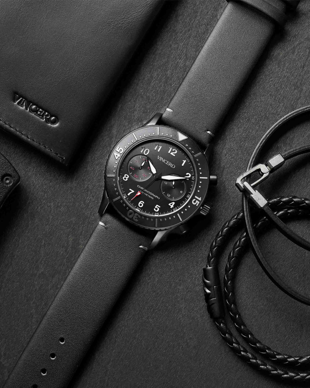 Outrider Black Italian Leather Strap Black Watch Face Matte Black Case Clasp Grey Accents