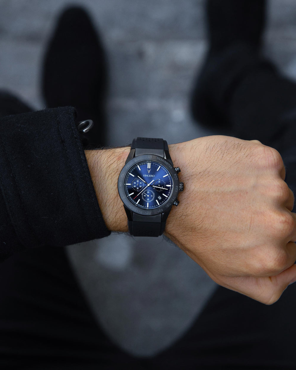 Rogue Black Silicone Strap Blue Watch Face Black Case Clasp White Accents