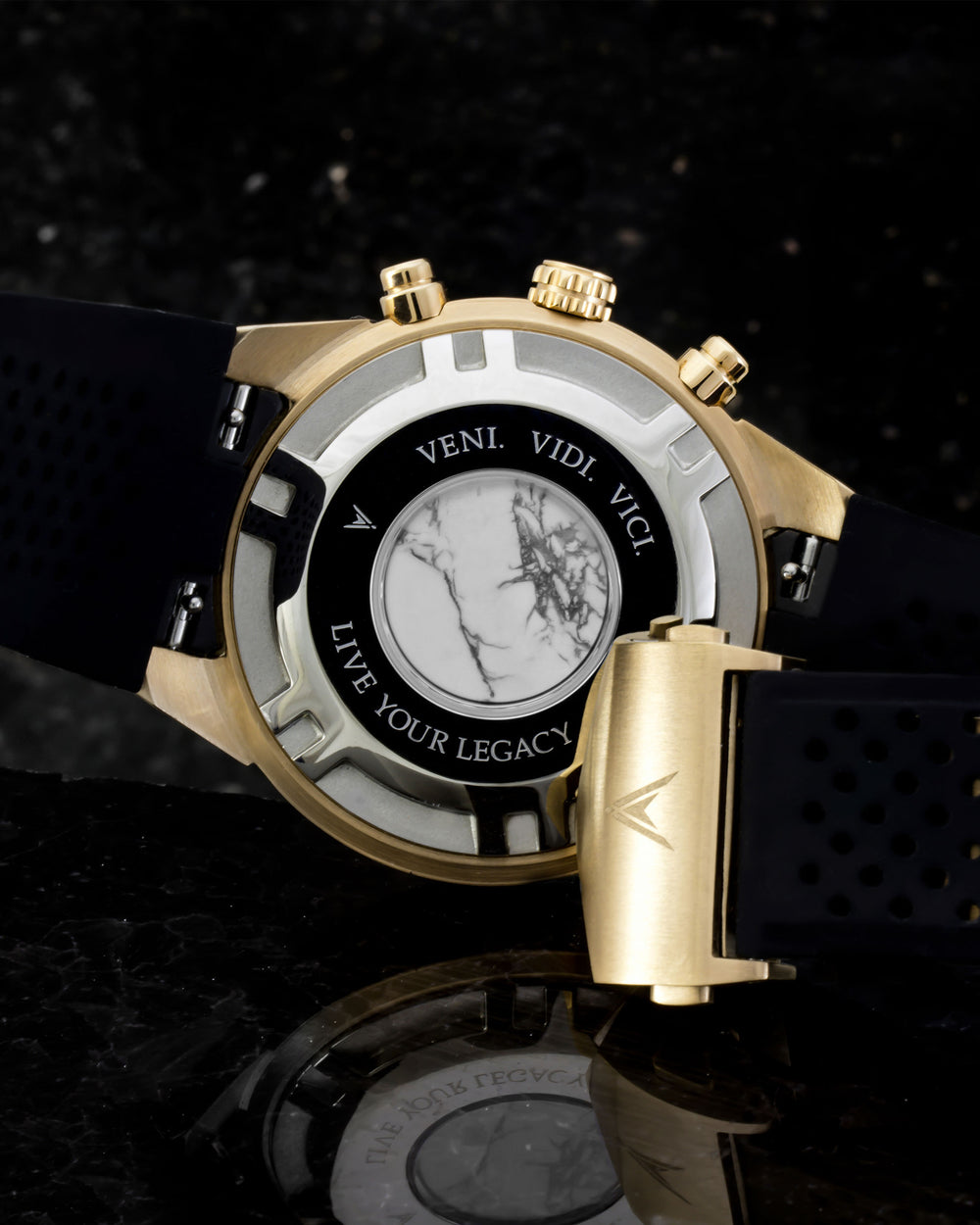 Rogue Italian Marble and 316L Stainless Steel Caseback with Veni Vidi Vici Live Your Legacy EngravingRogue Italian Marble and 316L Stainless Steel Caseback with Veni Vidi Vici Live Your Legacy Engraving