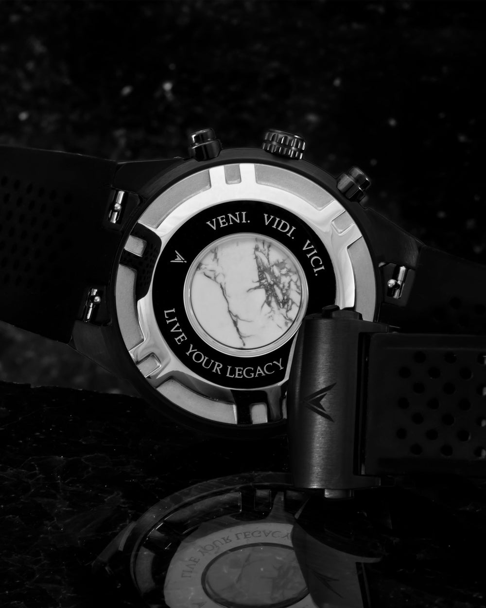 Rogue Italian Marble and 316L Stainless Steel Caseback with Veni Vidi Vici Live Your Legacy Engraving