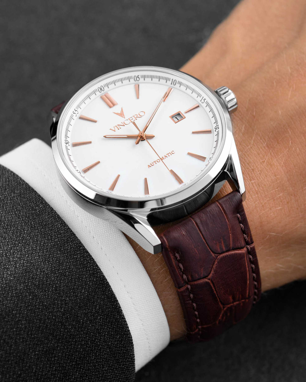 Men's Luxury Kairos Automatic Watch Mocha Brown Croc Italian Leather Strap Band White Watch Face Silver Case Clasp Rose Gold Accents
