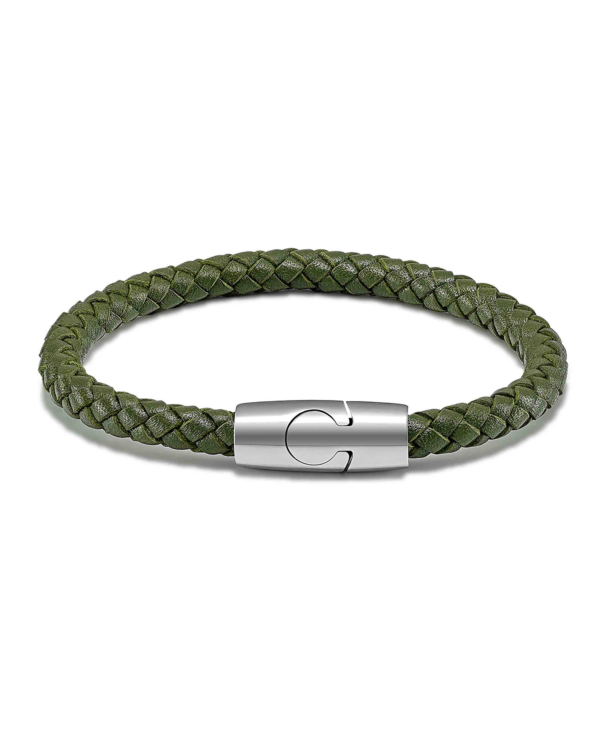 Men's Luxury Olive Green Croc Italian Leather Single Braided Bracelet Strap Silver Clasp