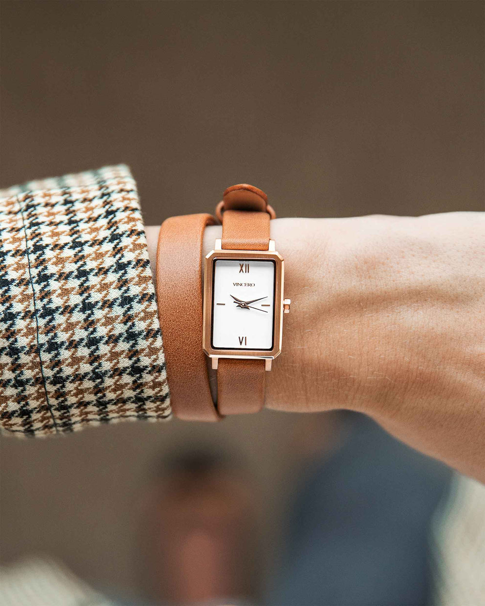 Women's Luxury Saddle Brown Italian Natural Leather Double Watch Band Strap Rose Gold Clasp