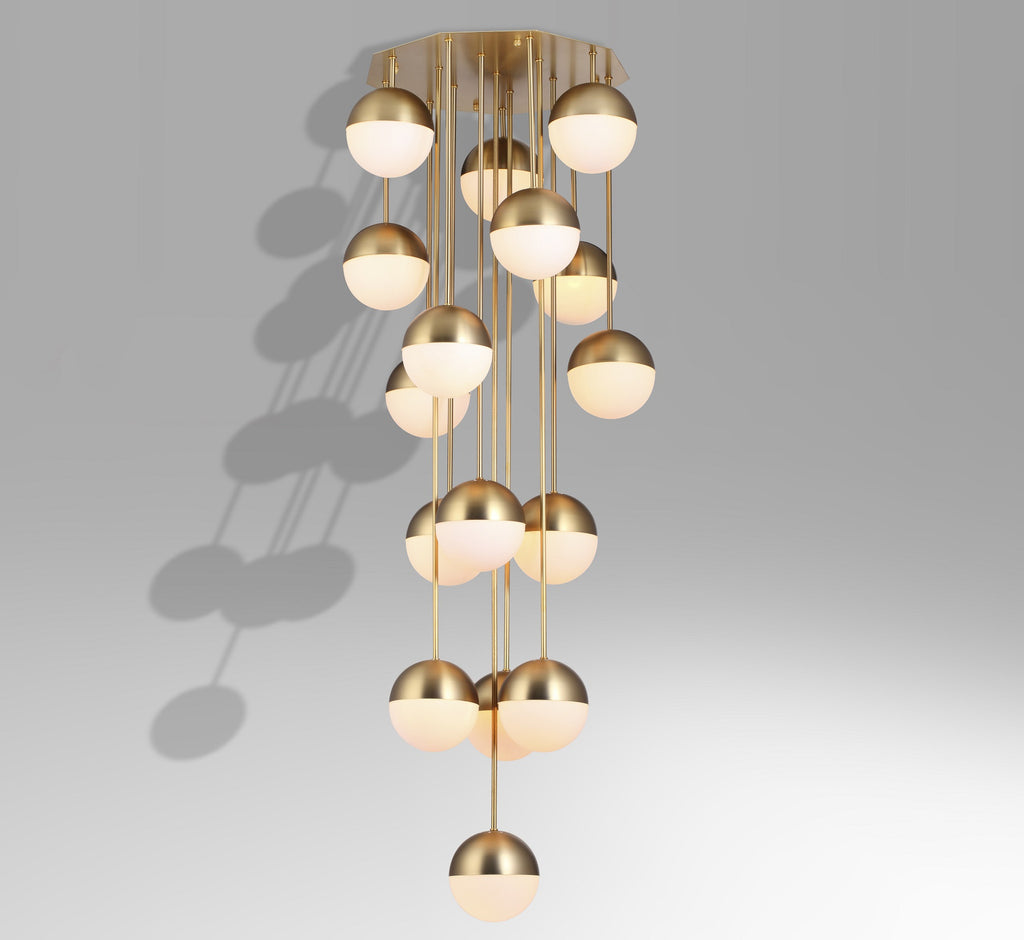 brass 16-head ball Stilnovo style ceiling lamp