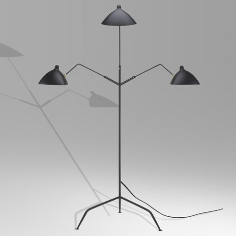 Lampadaire trios bras by Serge Mouille