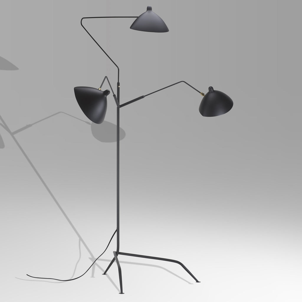 lampadaire trios bras by serge mouille eble furnishing. Black Bedroom Furniture Sets. Home Design Ideas