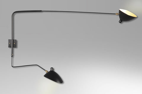 2-armed curved wall lamp by Serge Mouille