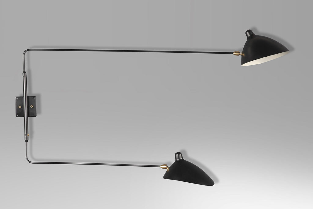 Serge Mouille 2-armed wall lamp with straight arms