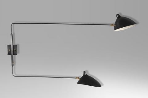 2-armed straight wall lamp by Serge Mouille