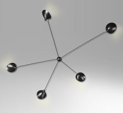 5-armed spider wall lamp by Serge Mouille