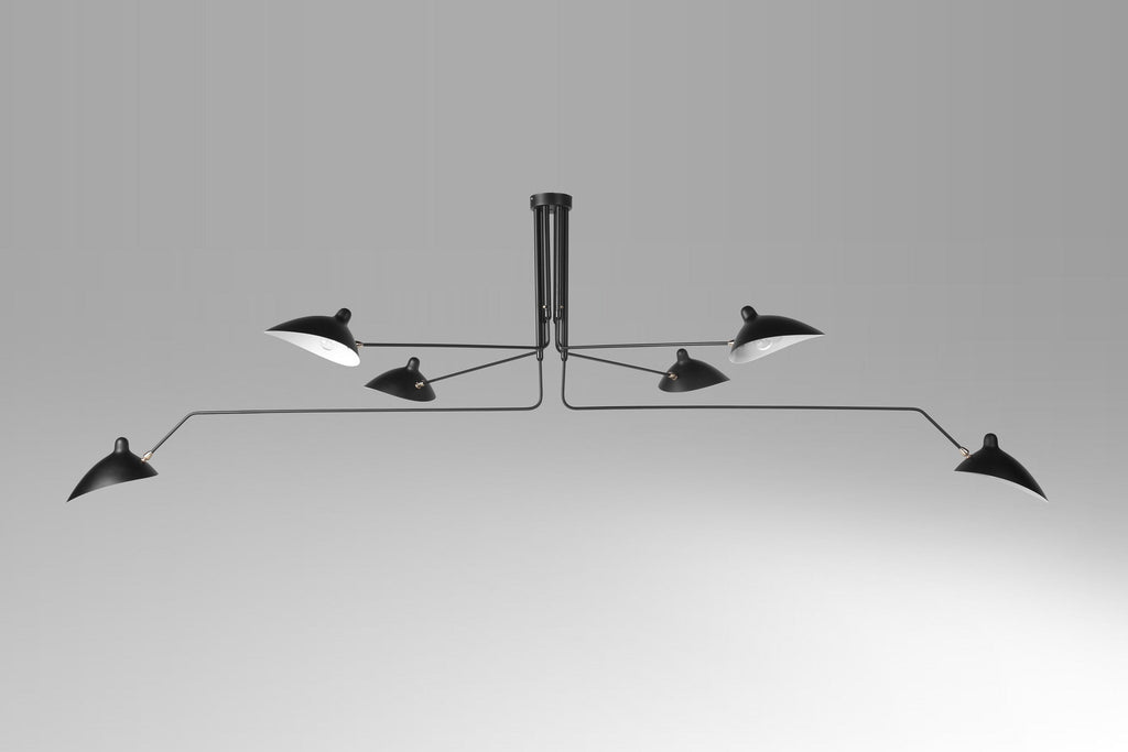 Mouille 6-armed ceiling lamp black brass fittings