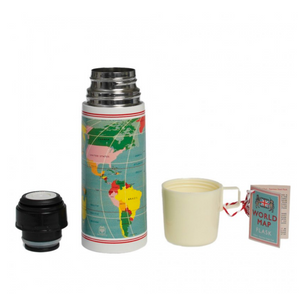 World Map Flask and Cup