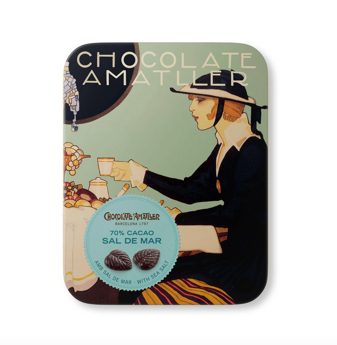 Chocolate Amatller Chocolate Leaves in Collectible Vintage Tins