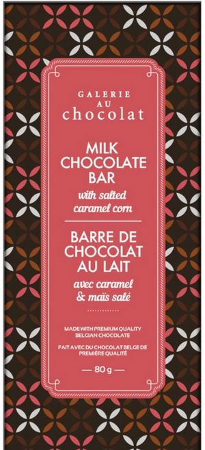 Galerie Au Chocolat Milk Chocolate Bar with Salted Caramel Corn