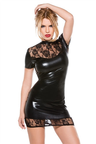 Kitten Lace & Wet Look Dress