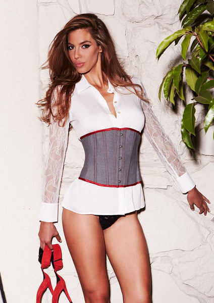 Suit Inspired Grey Cincher Corset