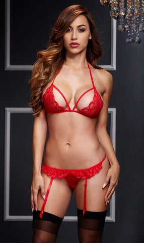 Red Lacy Bra, Garter & Open Crotch Panty Set